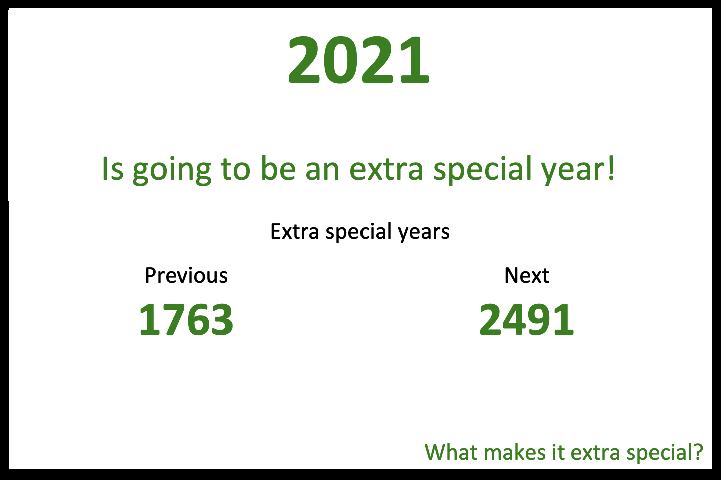 2021 is an Extra Special Year