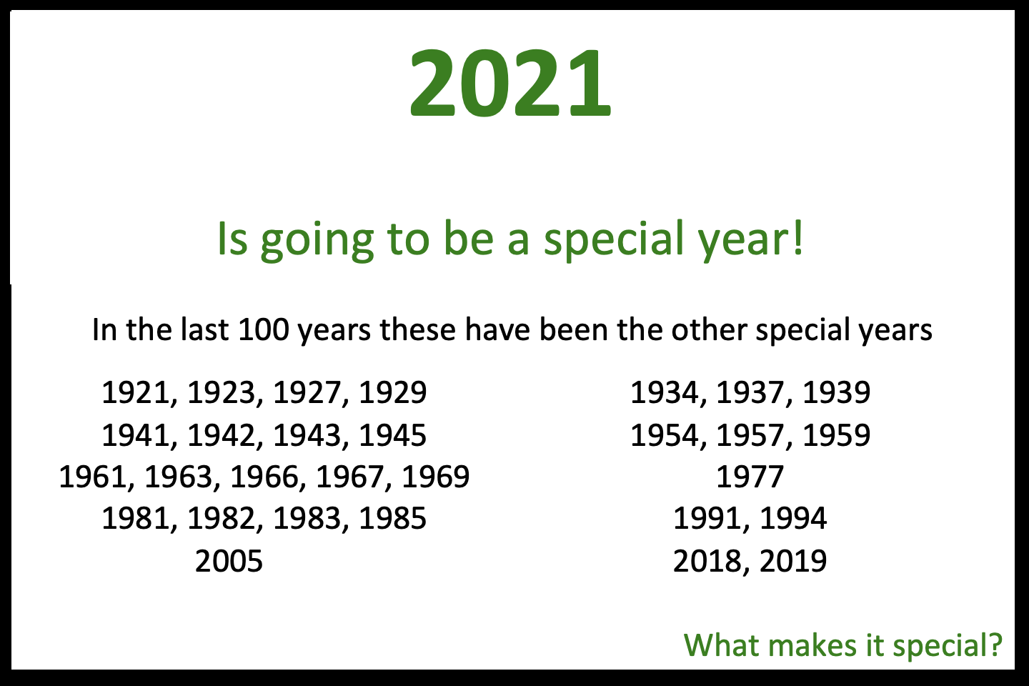2021 is a Special Year