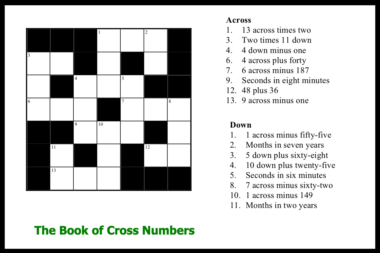 The Book of Cross Numbers