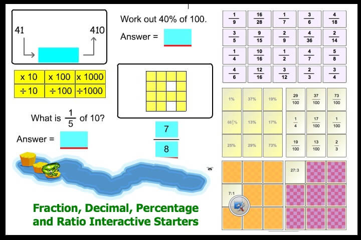Interactive Fraction, Decimal, Percent and Ratio Starters 2