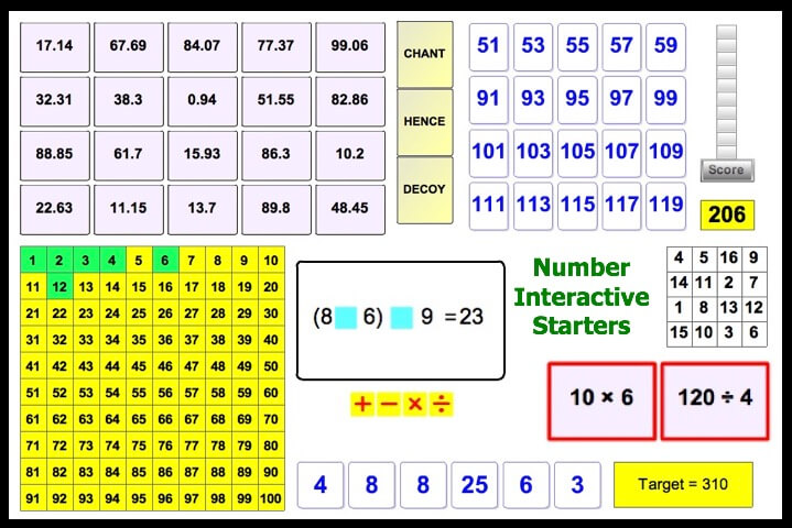 Interactive Number Starters