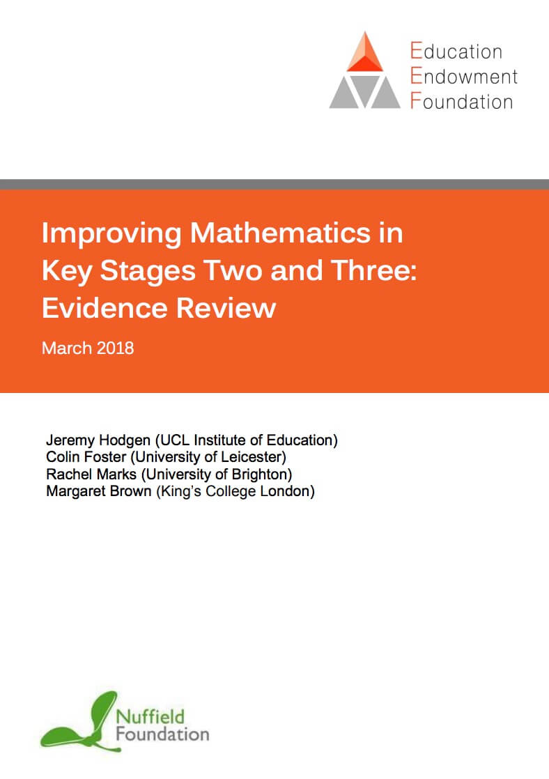 Improving Mathematics in Key Stages Two and Three: Evidence Review